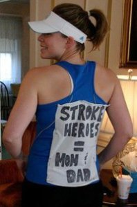 The big day with my stroke heroes sign pinned on